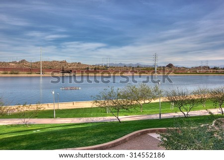 Outdoor recreation at the Tempe Town Lake in Arizona - stock photo