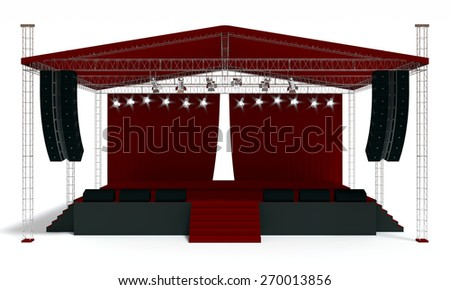 Outdoor red concert stage isolated white background - stock photo