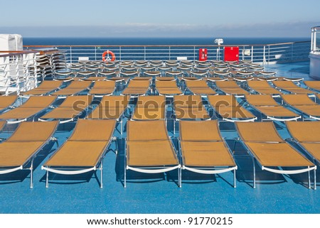 outdoor relaxation area on board of cruise liner - stock photo