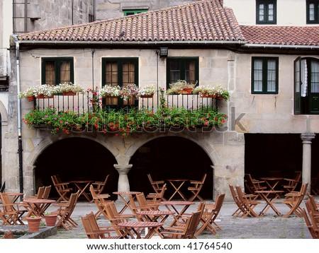 Outdoor restaurant, in Pontevedra, Spain. - stock photo