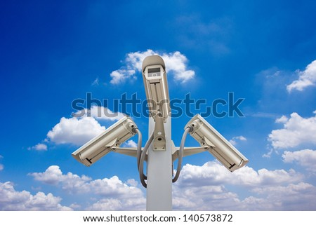 outdoor security cctv cameras against blue sky and cloud