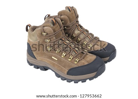 outdoor shoes on white background - stock photo