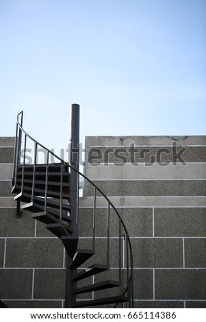 outdoor spiral staircase leading up to the roof top of a building - Outdoor Spiral Staircase