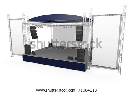 Outdoor stage with large vertical banners - stock photo