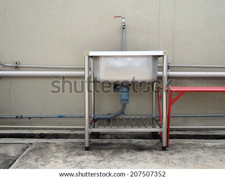 outdoor stainless steel pantry sink basin - stock photo