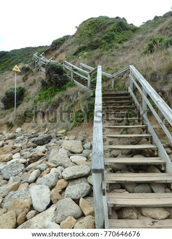Outdoor Staircase Construction Accessing Beach Over A Cliff, Set 2017, Jan  Juc Beach,