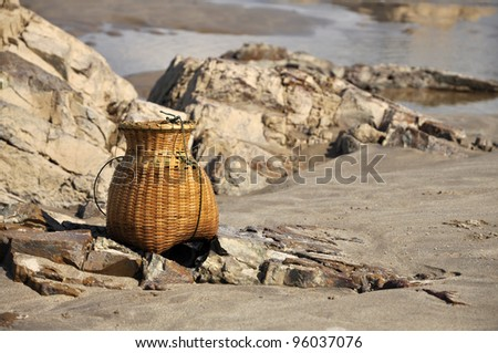Outdoor Stone Sand River Nature Creel - stock photo