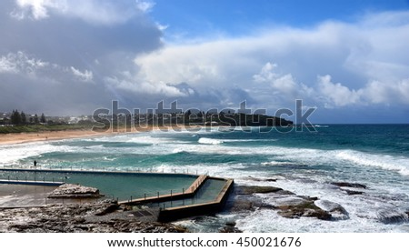 Outdoor swimming pool at Curl Curl beach (Sydney, NSW, Australia)