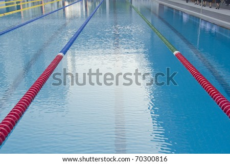 Outdoor Swimming Pool -- with clearly marked lanes for competitions - stock photo