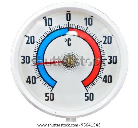 Outdoor thermometer. Photos isolated on white background - stock photo
