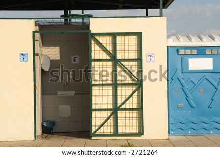Outdoor toilet with movable toilet - stock photo