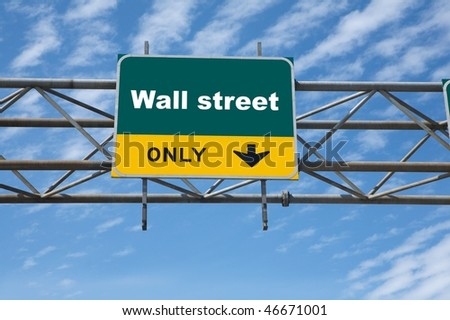 Outdoor traffic sign the word wall street on it - stock photo