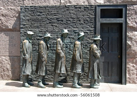 Outdoor view of Hunger sculpture of Franklin Delano Roosevelt Memorial in Washington DC - stock photo