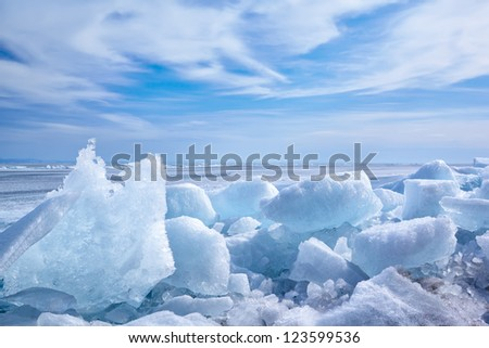 outdoor view of ice blocks at frozen baikal lake in winter - stock photo