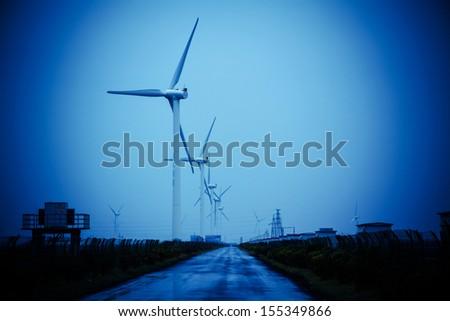 Outdoor wind generators - stock photo