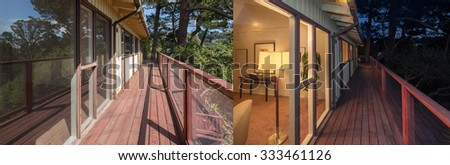 Outdoor wooden deck with fence / rail at daylight and at night.  - stock photo