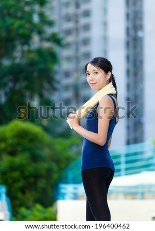 Outdoor workout woman - stock photo