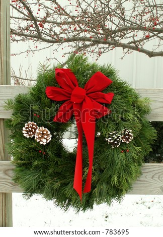 outdoor wreath - stock photo