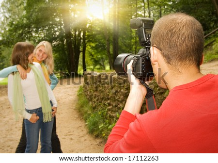 Outdoors photo shoot - stock photo