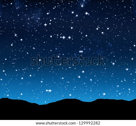 outer space or starry sky at night - stock photo