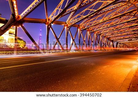 Outer white bridge in Shanghai - stock photo