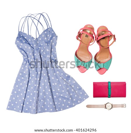 Outfit of clothes and woman accessories - stock photo