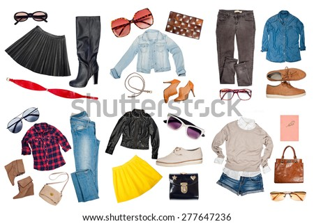 Outfits of clothes and woman accessories - stock photo