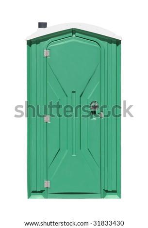 Outhouse or portable toilet isolated on white - stock photo