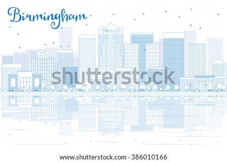 Outline Birmingham skyline with blue buildings and reflections. Business travel and tourism concept with place for text. Image for presentation, banner, placard and web site. - stock photo