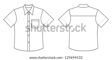 Outline black-white shirt illustration isolated on white - stock photo