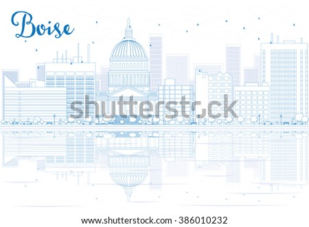 Outline Boise skyline with blue buildings and reflections. Business travel and tourism concept with place for text. Image for presentation, banner, placard and web site. - stock photo
