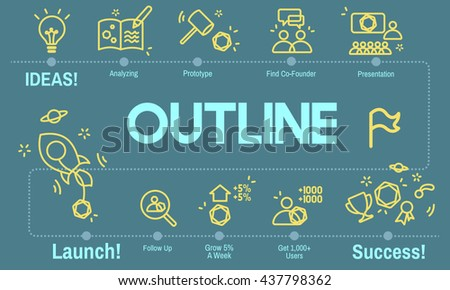 Outline Coach Guide Leader Plan Strategy Lead Concept - stock photo