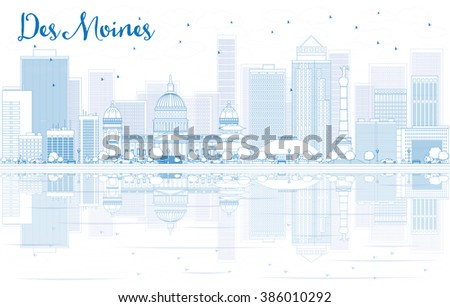 Outline Des Moines skyline with blue buildings and reflections. Business travel and tourism concept with place for text. Image for presentation, banner, placard and web site. - stock photo