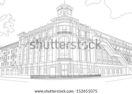 Outline Drawing Of The Building In Center City Modern European Architecture
