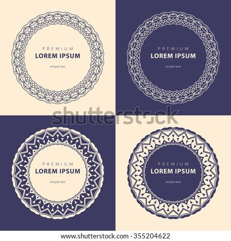 Outline Emblems Badges Abstract Logo Templates Stock Illustration ...
