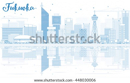 Outline Fukuoka Skyline with Blue Landmarks and Reflections. Business Travel and Tourism Concept with Historic Buildings. Image for Presentation Banner Placard and Web Site.