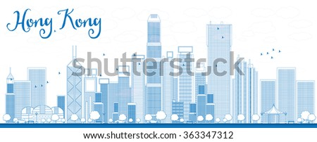 Outline Hong Kong skyline with blue skyscrapers and taxi. Business travel and tourism concept with place for text. Image for presentation, banner, placard and web site. - stock photo