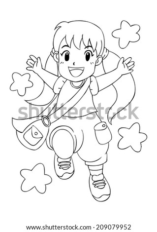 Outline illustration of a cheerful little girl - stock photo