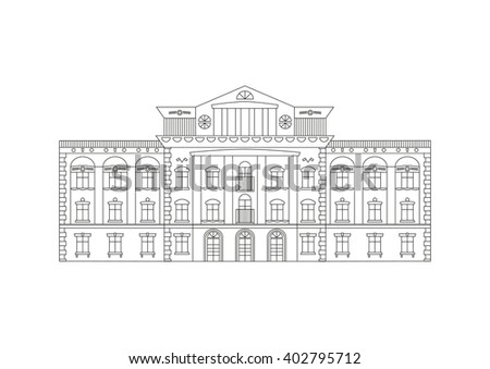 Outline illustration of building facade. Historical mansion viewed from front elevation. Coloring book page for adults and children. Black outline isolated on white. - stock photo