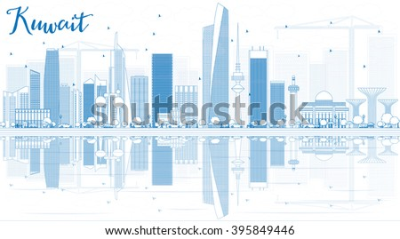 Outline Kuwait City Skyline with Blue Buildings and Reflections. Business Travel and Tourism Concept with Modern Buildings. Image for Presentation Banner Placard and Web. - stock photo
