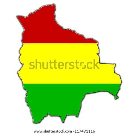 Outline map of Bolivia covered in Bolivian flag
