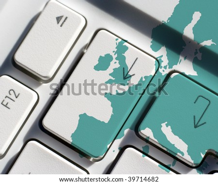 Outline map of Europe overlaid over laptop keys