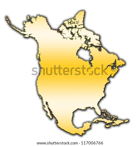 Outline map of North America covered with gradient - stock photo