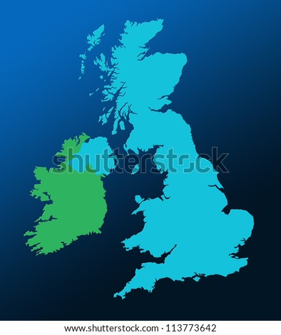 Outline map of UK and Ireland over graduated blue background - stock photo