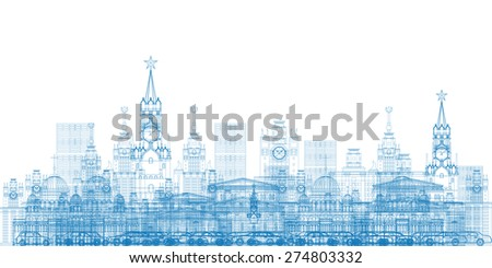 Outline Moscow City Skyscrapers and famous buildings in blue color. Business travel and tourism concept with modern buildings. Image for presentation, banner, placard and web site. - stock photo