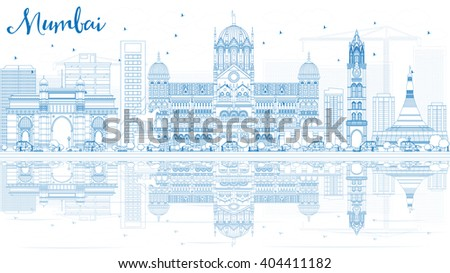 Outline Mumbai Skyline with Blue Landmarks and Reflections. Business Travel and Tourism Concept with Historic Buildings. Image for Presentation Banner Placard and Web Site. - stock photo
