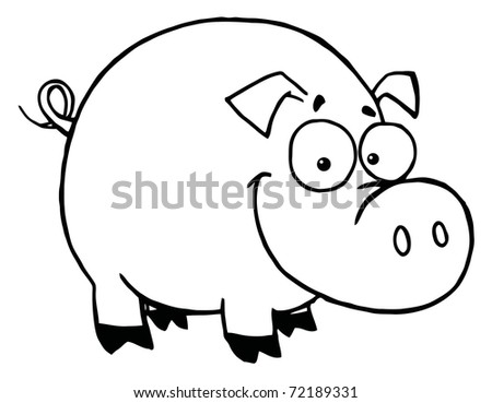 Outline Of A Happy Smiling Pig - stock photo