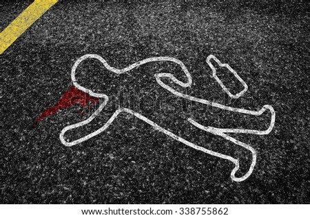 outline of a road accident victim.