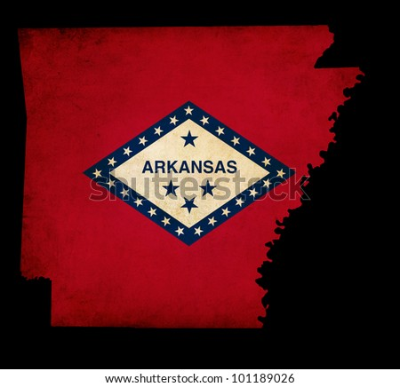 Outline of American USA Arkansas state with grunge effect flag insert - stock photo