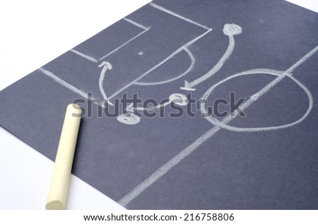 Outline of attacking strategy for football match: Hand drawing with chalk on the black project paper - stock photo